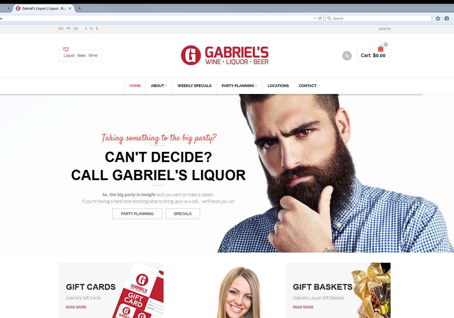Gabriel's Liquor Retail Website